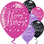 "Pinker Geburtstag - ""Happy Birthday"" Luftballons aus Latex 28cm"