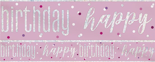 "Glitzernder pinker Geburtstag - ""Happy Birthday"" Banner 2,75m"