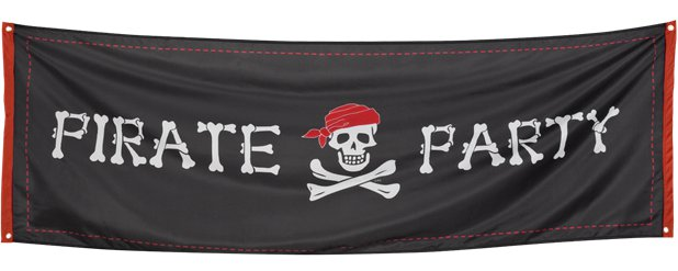 Piratenparty Stoffbanner 2,2m x 74cm