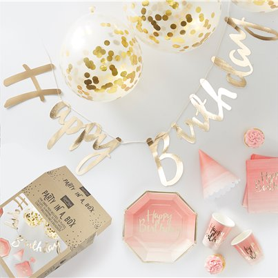Mustermix - Party-Box in gold & pink-ombriert