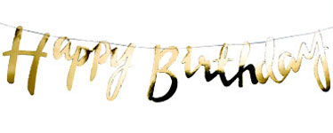Mustermix - Goldene Happy Birthday Buchstabengirlande 1,5m