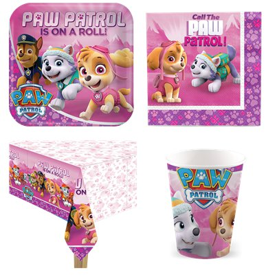 Paw Patrol Pink - Party Deko Set - Für 8 Personen