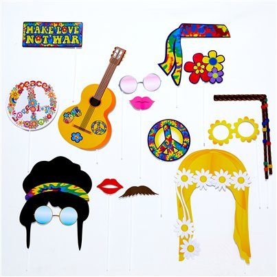 Hippie Foto-Requisiten Photo Booth Accessoires Set