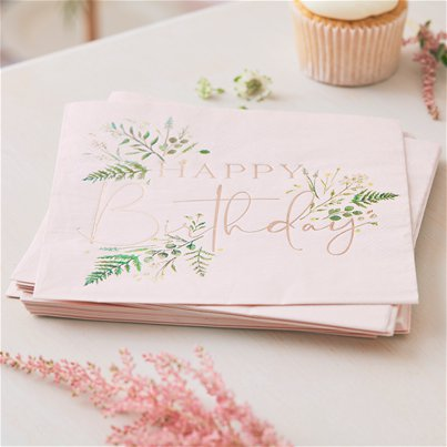 "Rotgoldene florale ""Happy Birthday"" Papierservietten 33cm"