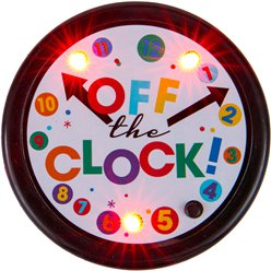 """Off the Clock"" Pensionierung aufleuchtender Button"
