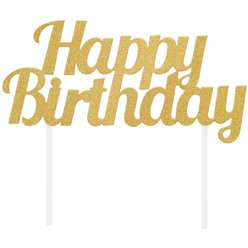 "Goldener glitzernder ""Happy Birthday"" Tortenaufstecker 9cm x 18cm"