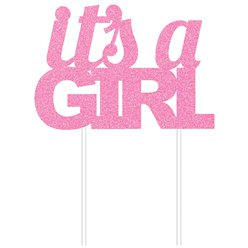 "Pinker glitzernder ""It's a girl"" Tortenaufstecker 18cm x 20cm"