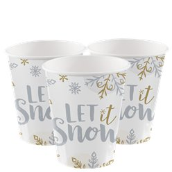 "Schimmernder Schnee - ""Let it snow"" Pappbecher 266ml"