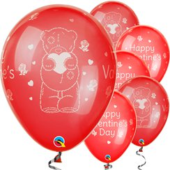 """Happy Valentine's Day"" Teddybär Luftballons aus Latex 28cm"