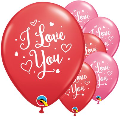 "Rote & Rosa ""I Love You"" Luftballons aus Latex 28cm"