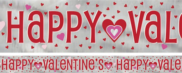 Happy Valentine's Day - Folienbanner mit Herzen 2,7m