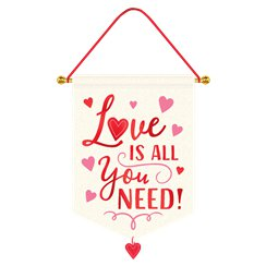 """Love is all you need"" Hängendes Canvas-Schild"