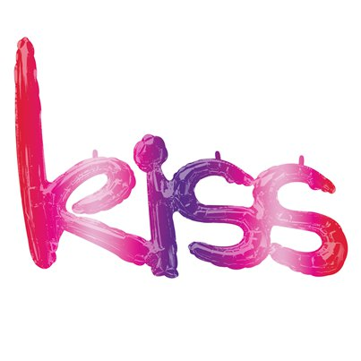 "Ombrierter ""Kiss"" Folienballon in Schriftform"