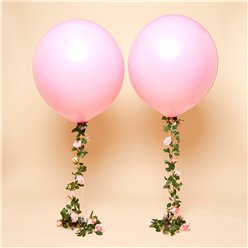 Pinker Rosenstrang & Riesenballon aus Latex 91cm - Set