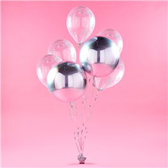 Silbernes Orbz Ballon-Bouquet Set