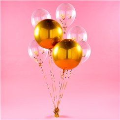 Goldenes Orbz Ballon-Bouquet Set
