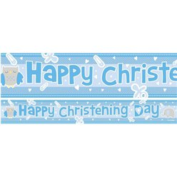 "Taufe - blaues ""Happy Christening Day"" Banner-Set"