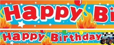 "Monster Trucks - ""Happy Birthday"" Papierbanner 3 Stück  à 1m"