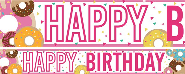 "Doughnuts - ""Happy Birthday"" Papierbanner 3 Stück  à 1m"