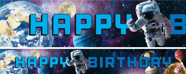 "Astronauten ""Happy Birthday"" Geburtstagsbanner 1m"