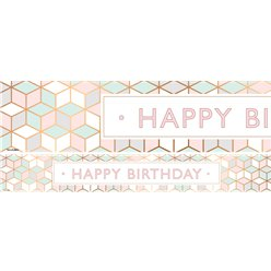"Pastellrosa ""Happy Birthday"" Papierbanner - 3 Stück"