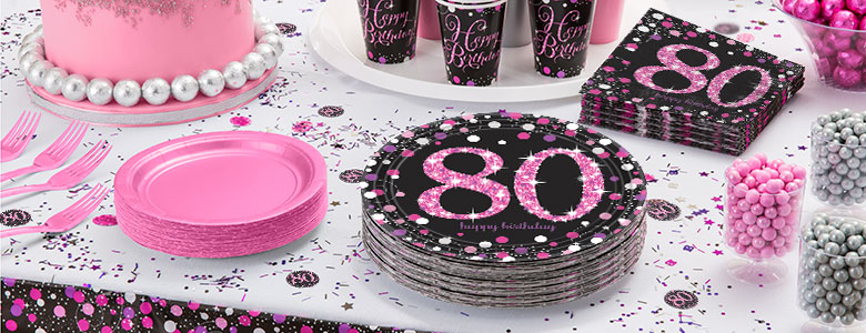 pinker 80 geburtstag party deko partycity de. Black Bedroom Furniture Sets. Home Design Ideas