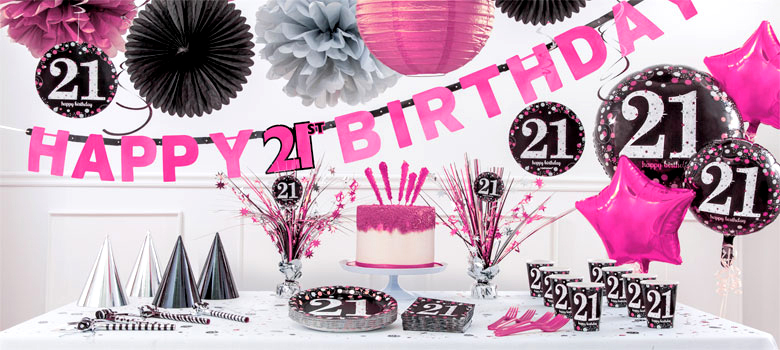 pinker 21 geburtstag party deko partycity de. Black Bedroom Furniture Sets. Home Design Ideas