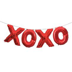 """XOXO"" Rote Folienballons in Buchstabenform 36cm"