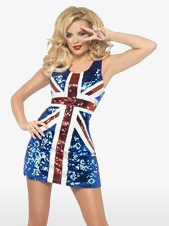 Rule Britannia Glitterkleid für Erwachsene Fancy Dress