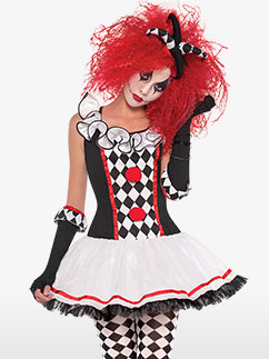 Süßer Harlekin Clown - Erwachsenenkostüm Fancy Dress