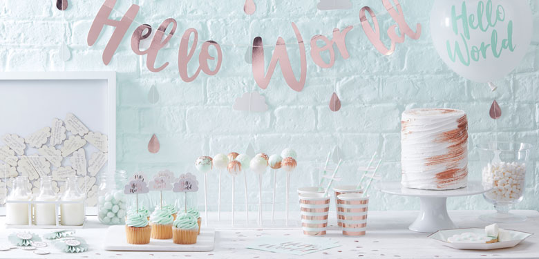 Hello world babyshower party deko partycity de for Baby shower party deko