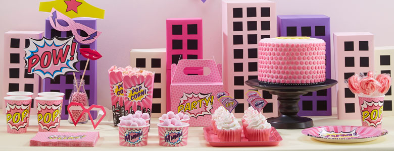 pinke pop art superhelden party deko partycity de. Black Bedroom Furniture Sets. Home Design Ideas