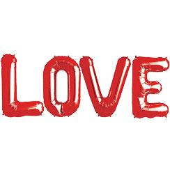 """LOVE"" Rote Folienballons in Buchstabenform Set 86cm"
