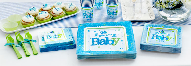 Willkommen baby boy baby party deko partycity de for Baby shower party deko